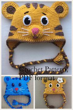 Daniel Tiger Tigey Margaret hat crochet pattern PDF. English