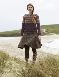 fair isle knitting SHETLAND is a collection of 12 Fair Isle handknit designs for women by Marie Wallin using Jamiesons of Shetland Spindrift Country Fashion, Country Outfits, Fair Isle Pullover, Fair Isle Knitting Patterns, Mode Inspiration, British Style, Winter Outfits, Knitwear, Winter Fashion