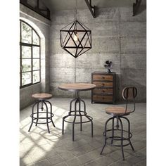 From Twin Peaks comes this elegant, unique distressed natural bar table. This solid metal table features a gorgeous wood finish.