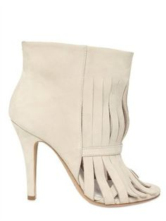 Maison Martin Margiela - 100mm Suede Fringed Low Boots