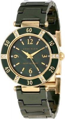 Relógio Anne Klein Women's 10/9416GMGN Swarovski Crystal Accented Gold-Tone Green Ceramic Bracelet Watch #Anne Klein#Relógio