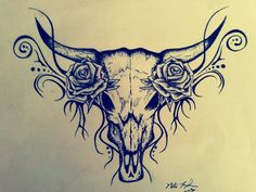 Tattoo Design - Bull Skull | MyFolio Maybe incorporate this into my sleeve? Or a seperate tattoo on it's own on my thigh?!