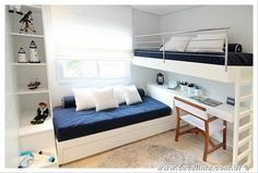 Loft Beds: Maximizing The Area Of Small Spaces – Bunk Beds for Kids Bunk Beds With Stairs, Kids Bunk Beds, Bunkbeds For Small Room, Boys Bunk Bed Room Ideas, Bunk Bed Ideas For Small Rooms, Loft Spaces, Small Spaces, Kids Bedroom, Bedroom Decor