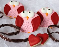 Valentine Owl Decorated Sugar Cookie Favors by Bakinginheels, $36.00