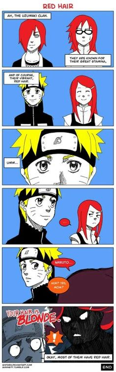 Red hair, comic, funny, Uzumaki clan, Kushina, Naruto, Karin, Nagato, text; Naruto