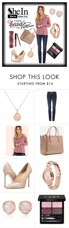 """""""Pink & Fabulous"""" by shaheenk ❤ liked on Polyvore featuring Ted Baker, Frame Denim, Massimo Matteo, Michael Kors, Monica Vinader, Gucci and Kylie Cosmetics"""
