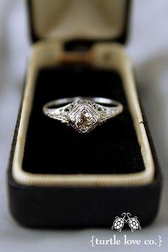 Vintage Engagement Ring circa 1950... Champagne diamond. Lovely