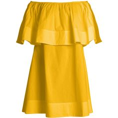 Apiece Apart Piper Petal off-the-shoulder dress ($345) ❤ liked on Polyvore featuring dresses, yellow, layered ruffle dress, off the shoulder dress, off-the-shoulder ruffle dresses, frilly dresses and petal dress