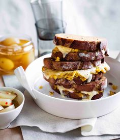 Creamed corn and cheddar toasties with pickled onions :: Gourmet Traveller