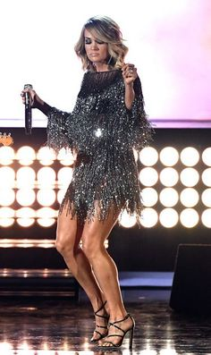 Carrie Underwood in Badgley Mischka performs onstage during the 52nd Academy Of Country Music Awards.