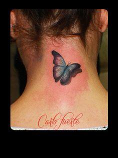 realistic tattoo #butterfly tattoo #tattoo 3d 3d Butterfly Tattoo, I Tattoo, Fish Tattoos, Butterflies, Tattoo Ideas, Anna, Ear, Flowers, Butterfly
