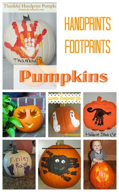 Handprints and footprints onto halloween pumpkins! A very special way to decorate this fall!