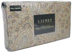 RALPH LAUREN Paisley FULL QUEEN DUVET COVER 3pc Set Taupe Gray Beige Brown Tan #RalphLauren #Contemporary