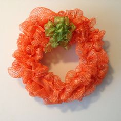 Shiny Mesh Fall Pumpkin Wreath 17 by MulberryMadeCrafts on Etsy Pumpkin Wreath, Fall Wreaths, Fall Pumpkins, Handmade Crafts, Home Art, Fall Decor, Crochet Earrings, Mesh, Autumn