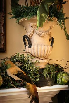 urn on a mantel for the holidays
