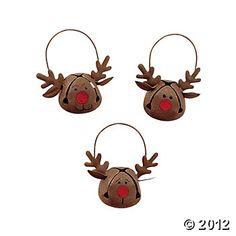Jingle Bell Reindeer Ornaments (12 pcs)