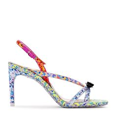Floral print, metallic trim, and a patent bow – the Laurellie sandal has it all! On an heel with delicate cross straps this style features a square toe and printed sole. Please note the sole will fade with wear. Black Leather Sandals, Sophia Webster, Dream Shoes, Luxury Branding, Me Too Shoes, Screen Printing, Floral Prints, My Style, Heels