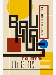 Classic Modern Design - Bauhaus exhibition poster from When modern meant Modernist and simple colour and form had real impact. Type Posters, Graphic Design Posters, Graphic Design Typography, Graphic Design Inspiration, Poster Designs, Vintage Graphic Design, Art Bauhaus, Design Bauhaus, Poster S