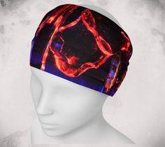 Headband - Nightlights - Wee Dog - Yoga headband - Pilates headband - Microknit -Quick dry -Ecopoly -Red -Black -Purple - Performance Fabric by WeeDogWearableArt on Etsy