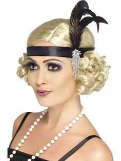 how to make flapper headbands | Details about 1920S FLAPPER CHARLESTON BLACK SATIN HEADBAND FEATHER ...