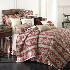 Image detail for -Rose Tree Montpellier French Red Floral Comforter Set