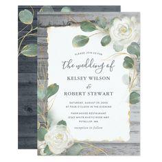 White Roses Wedding, Sage Green Wedding, Rose Wedding, Dream Wedding, Country Wedding Invitations, Rustic Invitations, Watercolor Wedding Invitations, Shower Invitations, Rustic Wedding