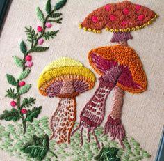 Mushroom Embroidery Framed Woodland Vintage Art by flabbyrabbit, $21.75
