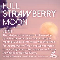 June's full Moon, like other full Moons, is rich in folklore and therefore was given many names. Watch our short video to learn the origin behind this full Moon's names: https://www.farmersalmanac.com/junes-full-strawberry-moon-17441 #fullmoon #folklore #legends #NativeAmerican #astronomy #stargazing
