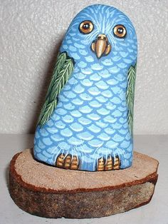Whimsical Blue & Green PARROT Painted Rock Art by reallyrocks
