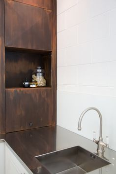Von Sturmer - Industrial style sliding doors - 'burnished' steel Sliding Doors, Industrial Style, Sink, Steel, Interior Design, Home Decor, Design Interiors, Homemade Home Decor, Sliding Door