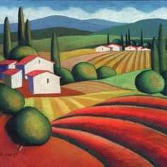 "Sveta Esser Limited Edition Serigraph:""The Farm"" Artist: Sveta Esser Title: The Farm Edition Size: 150 Medium: Serigraph Image Dimensions: x About the Art: Sveta Esser was born in Landscape Art, Landscape Paintings, Watercolor Paintings, Colorful Drawings, Art Drawings, Naive Art, Whimsical Art, Painting Inspiration, Art Lessons"