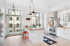 spacious white kitchen