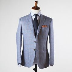 Blue linen and wool sport coat with red windowpane