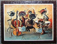 Musical Cats 60s Miree by CheekyVintageCloset on Etsy, $17.00