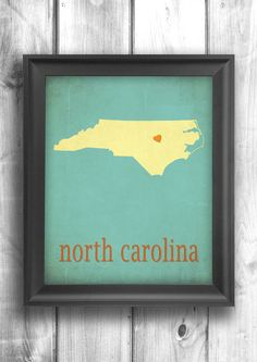 North Carolina Typographic print map art state poster wall sign choose your color - 11x14 Typography