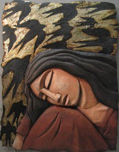 Sleeping Woman with Bird Screen: Steve Gardner: Ceramic Wall Art - Artful Home Ceramic Wall Art, Tile Art, Ceramic Pottery, Wall Tiles, Wall Sculptures, Sculpture Art, Cerámica Ideas, Sleeping Women, Panel Wall Art