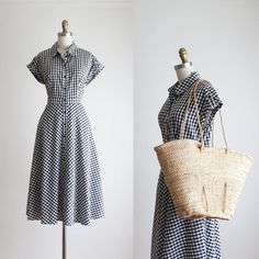 Semi Formal Wear, 50s Outfits, Market Bag, Day Dresses, Gingham, Spring Fashion, Instagram, Cotton, How To Wear