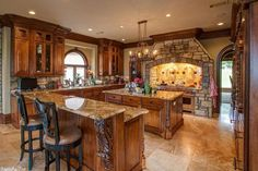 Traditional Kitchen with Crown molding, Large Architectural Corbel Acanthus Leaf Design, Kitchen island, Glass panel