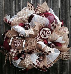 Texas A&M Aggies Burlap Wreath by CSHomeTownGirl on Etsy, $105.00