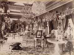 Deen Dayal, Interior of the Bashir-bagh Palace, Hyderabad, India, Source: British Library Palace Interior, Mansion Interior, History Of India, History Photos, History Facts, History Memes, Governor General Of India, Colonial India, Vintage India