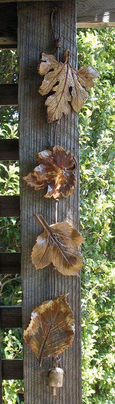 Clay verlässt Wand hängen (4) - mit echten Blätter - bräunlich Gold Farbe Thema gemacht