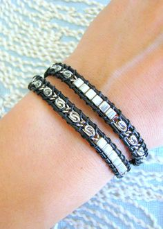 Beaded Leather Wrap Bracelet With Silver Chain and Button Clasp