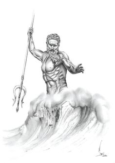 Poseidon Pencil drawing Digital print by NikkeyStudio on Etsy