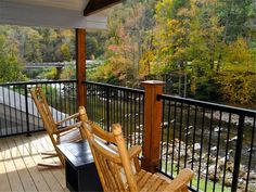 River Memories --  Grab your favorite beverage and relax in a rocking chair or hot tub on the deck while taking in the sounds of nature and the rippling of the water over the rocks.