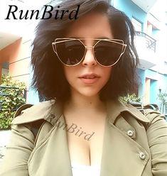 RunBird Ojo de Gato gafas de Sol de Moda para Las Mujeres Clásicas gafas de Sol de Espejo de Recubrimiento Diseñador de la Marca de Doble Vigas de Panel Plano Lente M195