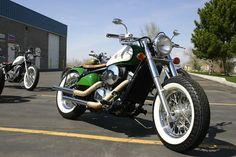 kawasaki vulcan 800 customized | Green and White Kawasaki Vulcan 800 by Blue Collar Bobbers