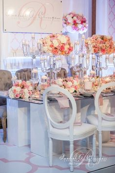Elegant pink and white table.