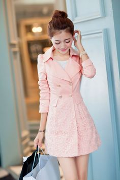 Lace Patchwork Turn-down Collar Slim Button Mid-length Coat