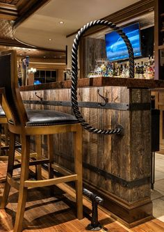 Installing a bar in your home is a great way to make sure that when you have company over everybody has a fun place to spend time together. A dedicated bar spac Country Bar, Basement Bar Designs, Home Bar Designs, Diy Home Bar, Bars For Home, Outside Bars, Garage Bar, Man Cave Home Bar, Pub Decor