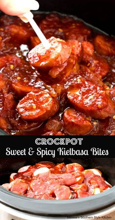 These Crockpot Sweet and Spicy Kielbasa Bites are perfect party food and couldn't be easier to make. Arrange slices of kielbasa sausage in a crockpot then whip- Kielbasa Appetizer, Sausage Appetizers, Spicy Appetizers, Appetizer Recipes, Appetizers Superbowl, Superbowl Food Ideas, Crock Pot Appetizers, Spicy Food Recipes, Birthday Party Appetizers